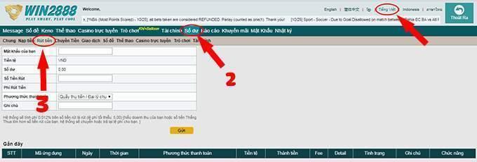 Cách rút tiền win 2888 đảm bảo nhanh, an toàn tại nhà cái online win 2888